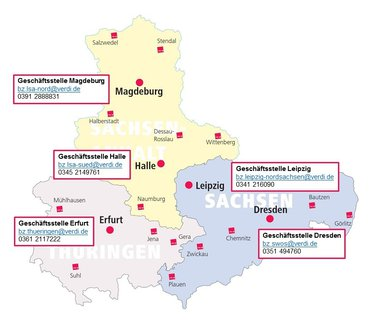 Karte mit Erreichbarkeit im Landesbezirk