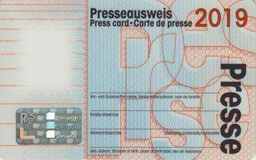Presseausweis 2019, ver.di, Muster