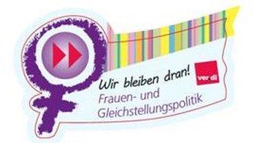 Frauenzeichen mit aufmunterndem Spruch und ver.di-Logo